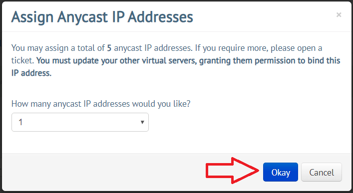 A screenshot of the assigning screen for anycast ip addresses.