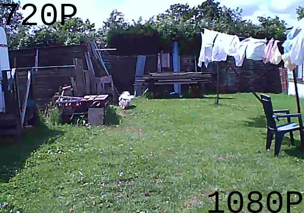 A screenshot comparing downsampled 720p with the original 1080p video.