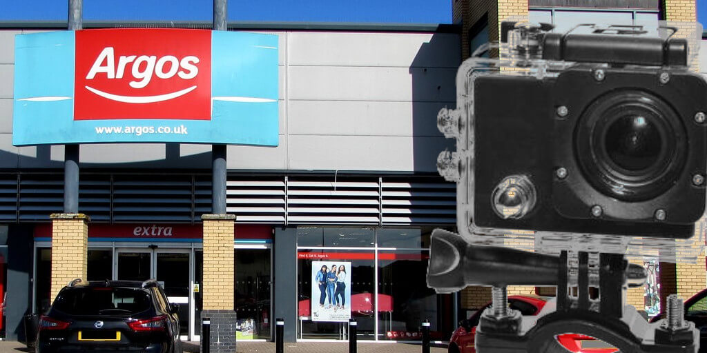 Argos store front with a image of a generic action camera superimposed over it.