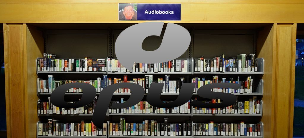 Bookshelf with sign for Audiobooks above.