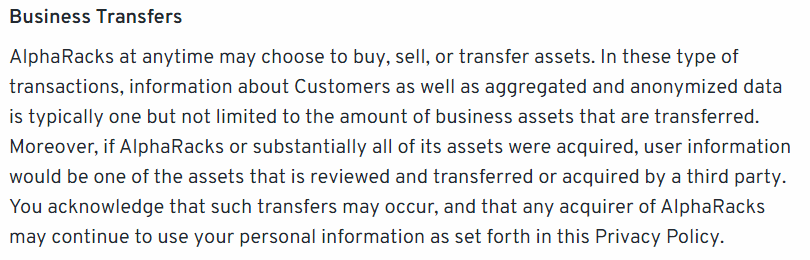 A screenshot of the alpharacks privacy policy, showing the changes they made less than one month before closing to justify the selling of customer data.