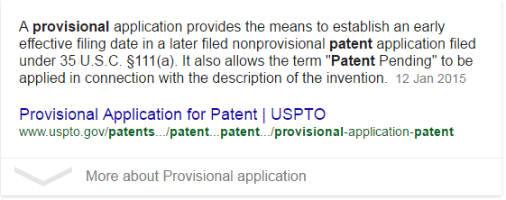 definition of a provisional patent application on uspto.gov, to show that no patent had yet been granted.